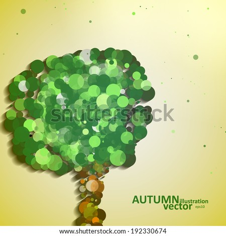 Abstract autumn tree illustration, vector background eps10 - stock vector