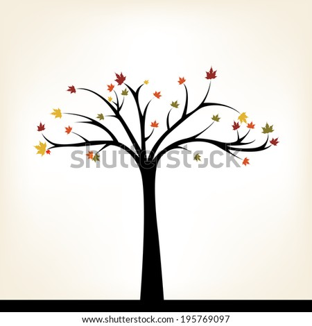 abstract autumn tree on a white background