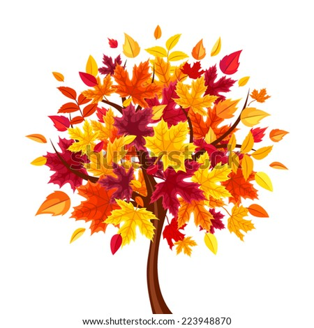 Abstract autumn tree. Vector illustration. - stock vector