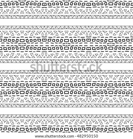 Abstract Aztec seamless vector pattern. Background ethnic monochrome design. Modern stylish texture. Hand drawn tribe motif.