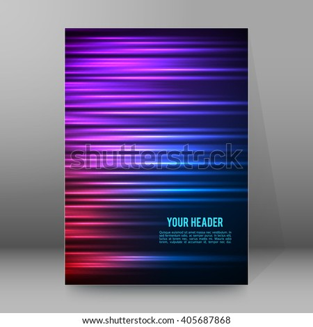Abstract background advertising brochure design elements. Futuristic style glow neon disco club, night party for elegant flyer. Vector illustration EPS 10 for layout page newsletters, vertical banner - stock vector
