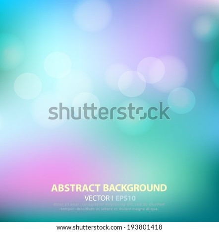 Abstract background aqua with bokeh effect. Vector EPS 10 illustration - stock vector