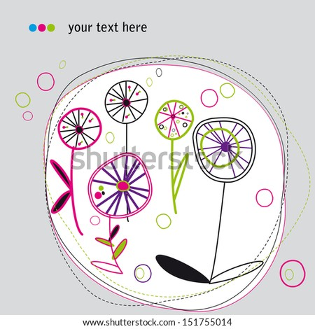 abstract background autumn flowers circles - stock vector