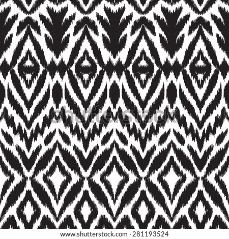 Abstract background. Black and white Ikat seamless pattern for textile, wallpaper, card or wrapping paper. - stock vector