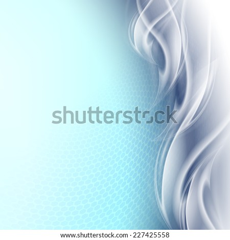 Abstract background blue arc with white waves - stock vector