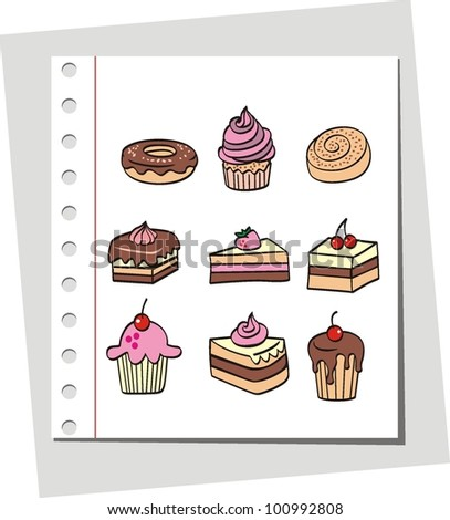Abstract background, cakes doodle