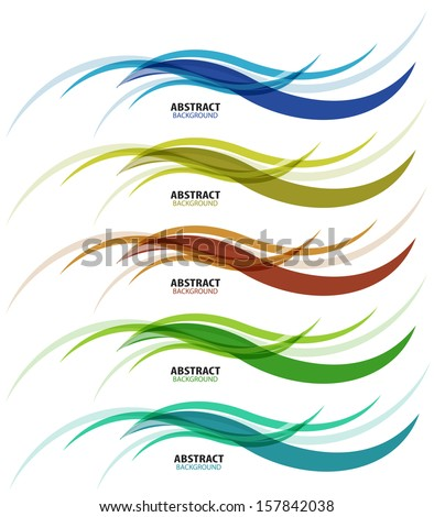 Abstract background colorful business wave line set - stock vector