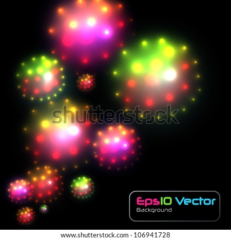 Abstract background, colorful glittering balls of light. - stock vector