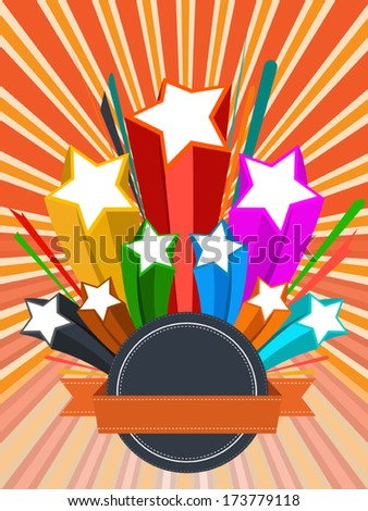 abstract background colorful with stars, vector illustration - stock vector