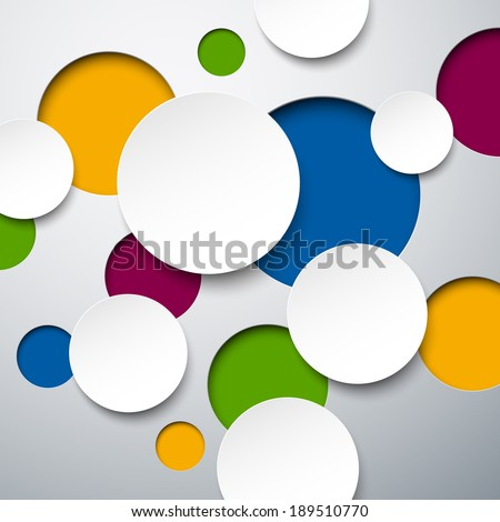 Abstract background composed of colorful round paper stickers. Vector illustration.  - stock vector