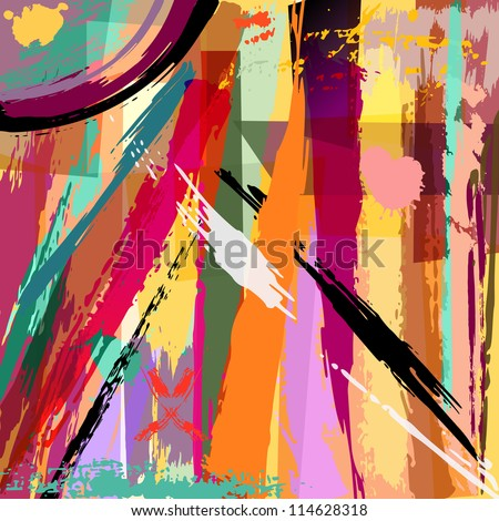 abstract background composition, with stripes, paint strokes and splashes