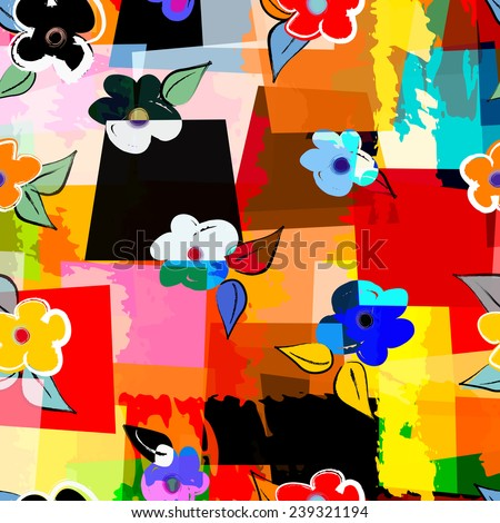 abstract background composition, with strokes, splashes and little flowers, seamless - stock vector