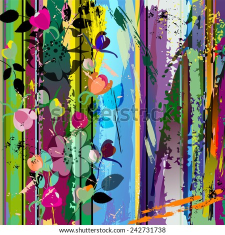abstract background composition with wild roses, with strokes, splashes and geometric lines - stock vector