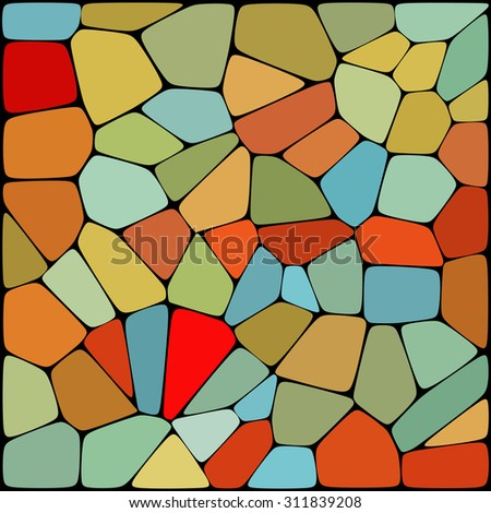 abstract background consisting of red, blue, orange, brown geometrical shapes, vector illustration