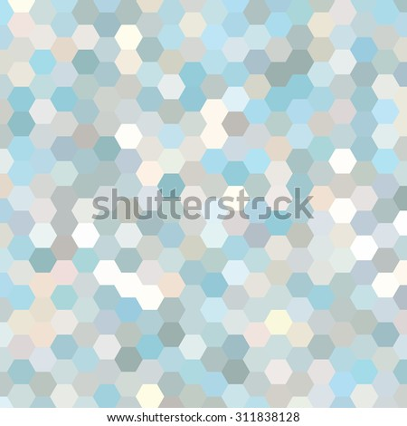 abstract background consisting of white, blue, gray hexagons, vector illustration - stock vector