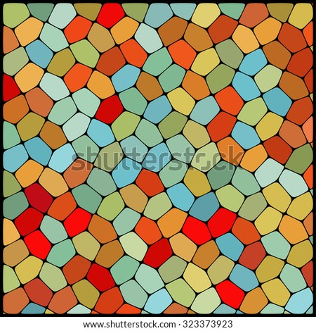 abstract background consisting of yellow, orange, red, blue  geometrical shapes, vector illustration
