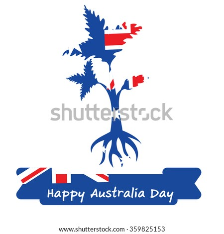 Abstract background design for Happy 26 January of Australia day. Leaves shape flag.