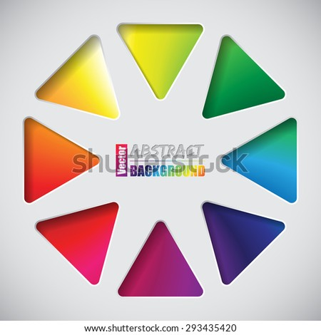 Abstract background design with triangles and rainbow background - stock vector