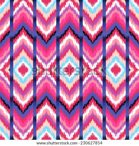 Abstract background. Ethnic colorful zigzag print for textile, wallpaper, card. Ikat seamless pattern. Vector illustration. - stock vector