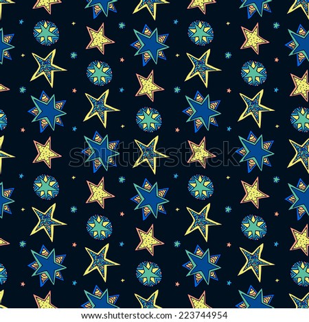 Abstract background, fantasy starry sky. Seamless dark square pattern. - stock vector