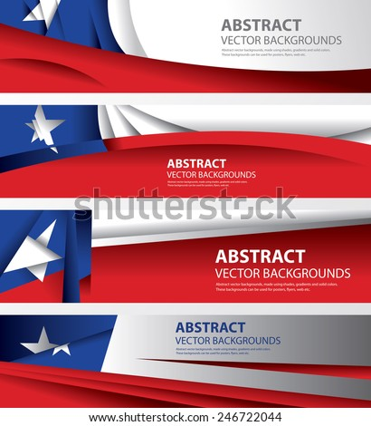 Abstract Background Flags Collection, National Chile Flag (Vector Art)