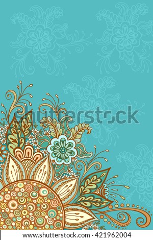 Abstract Background, Floral Ornament, Colorful and Outline Contour Pattern, Symbolic Flowers and Leafs. Vector - stock vector