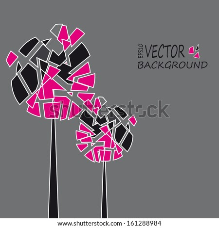 Abstract background flowers geometrical figures - stock vector