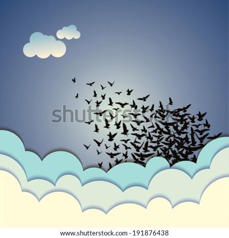 Abstract background flying birds vector illustration - stock vector