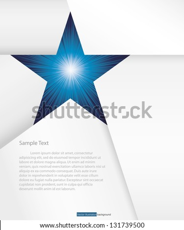abstract background for sample text with burst in star space: white&blue - stock vector