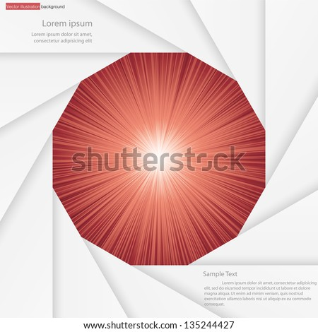 abstract background for sample text with burst in the center of aperture blade : white&red