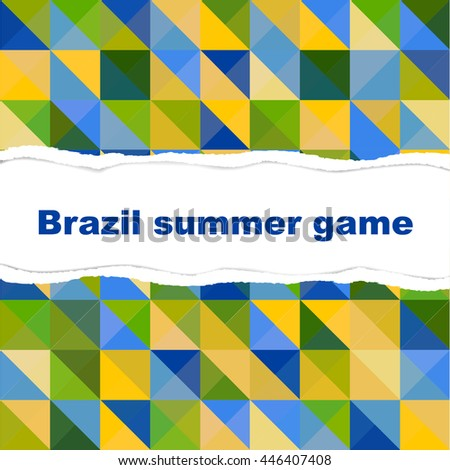 Abstract background for tear paper in theme of Brazilian color tone for summer game with copy space in vector format - stock vector