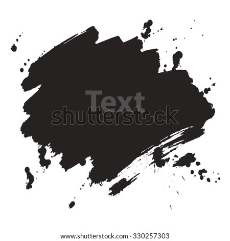 Abstract background. Freehand drawn ink brush strokes with blots. Dry brush illustration.