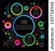 abstract background gears with text - stock vector
