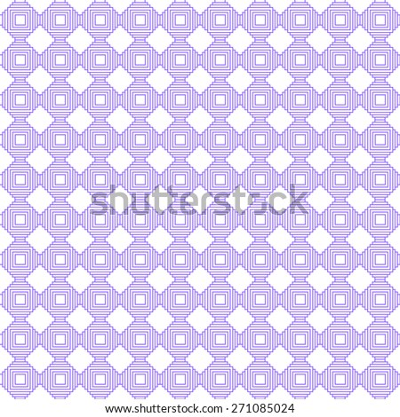 Abstract background - geometric seamless pattern of interwoven lines and squares in violet and white. vector illustration.