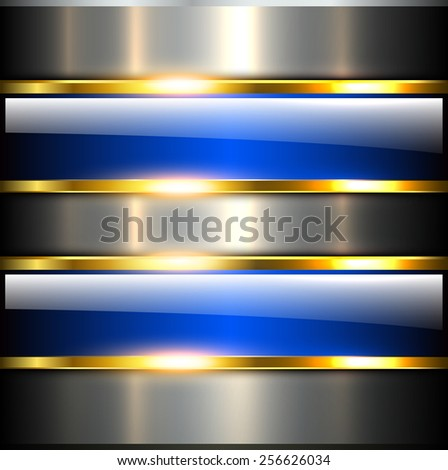 Abstract background glossy and shiny blue metallic, vector illustration. - stock vector