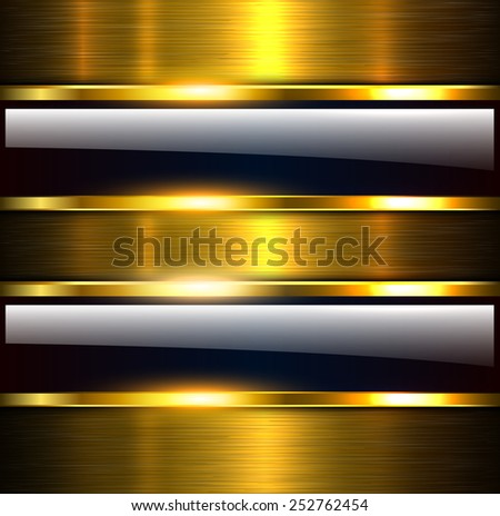 Abstract background glossy and shiny gold metallic, vector illustration. - stock vector
