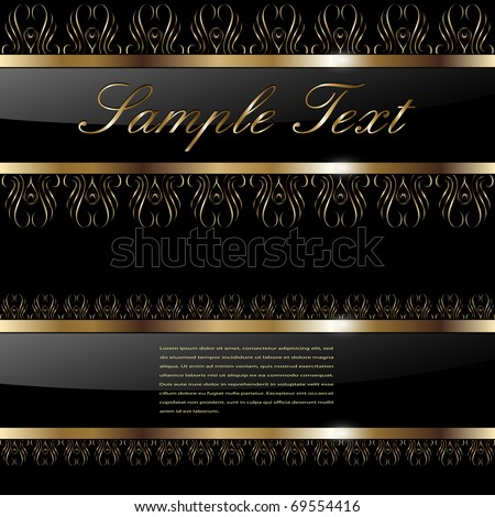 Abstract background gold banners on black, vector illustration. - stock vector