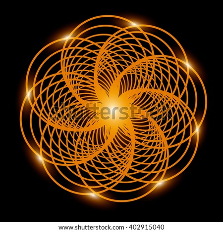 Abstract background. Gold fractal flower with lights. Vector illustration - stock vector