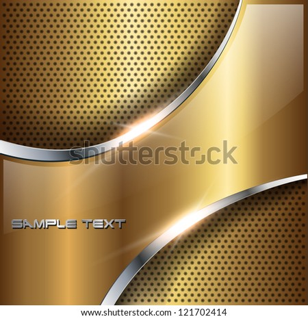 Abstract background gold glossy metallic, vector illustration. - stock vector