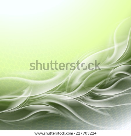Abstract background green arc with white waves - stock vector
