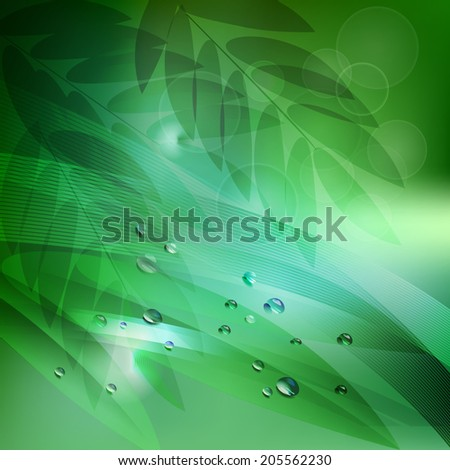 abstract background green leaves and water drop. vector illustration - stock vector
