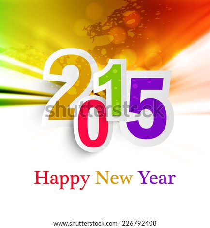 Abstract Background  Happy New Year 2015 celebration colorful vector - stock vector