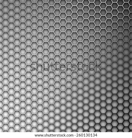Abstract background. Hexagons in the form of a metal lattice. - stock vector