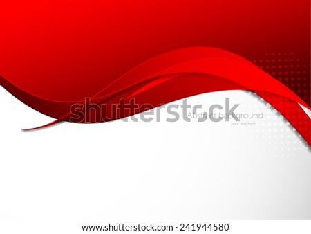 Abstract background in red color with waves - stock vector