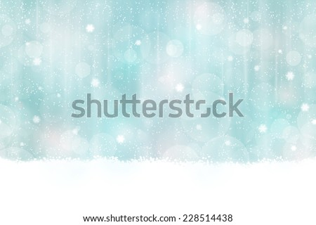 Abstract background in winter colors with blurry light dots. Snowfall and light effects give it a dreamy, soft feeling and a glow perfect for the festive Christmas season. Seamless horizontally - stock vector