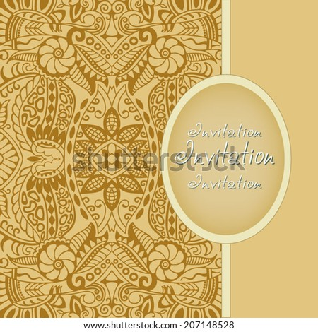 Abstract background, lace frame border pattern, wedding invitation card design, floral and geometric ornament, hand drawn artwork, vector illustration - stock vector
