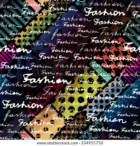 Abstract Background. Lettering of Fashion on dark geometric background. - stock vector