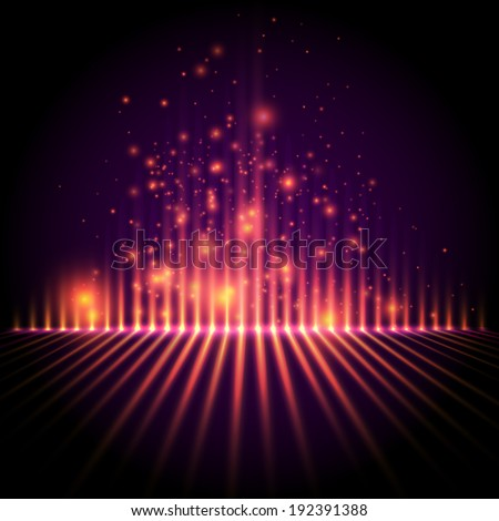 Abstract background, light column with sparks, equalizer style vector - stock vector