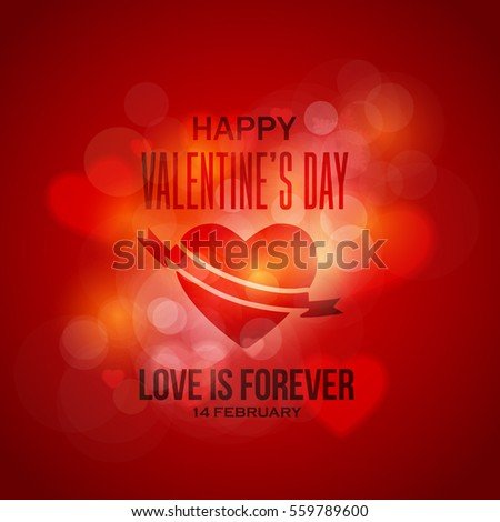 Abstract Background Lights Theme Happy Valentine's Day Postcard, Celebration Banner. Greeting Card, Vector Heart Elements or Flyer, Poster Design