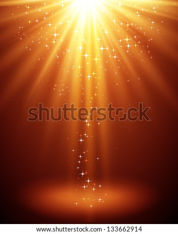 Abstract background. Magic light with gold burst - stock vector